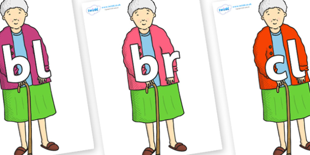 Initial Letter Blends on Harry's Nan to Support Teaching on Harry and the Bucketful of Dinosaurs - Initial Letters, initial letter, letter blend, letter blends, consonant, consonants, digraph, trigraph, literacy, alphabet, letters, foundation stage l