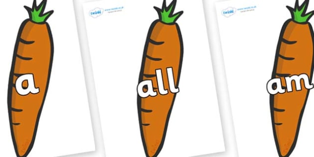 Foundation Stage 2 Keywords on Carrots - FS2, CLL, keywords, Communication language and literacy,  Display, Key words, high frequency words, foundation stage literacy, DfES Letters and Sounds, Letters and Sounds, spelling