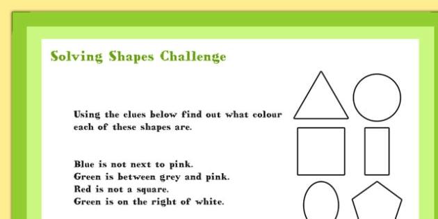 A4 KS1 Solving Shapes Maths Challenge Poster - Shapes, Solve