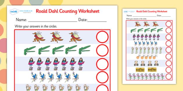 Roald Dahl Counting Worksheet - roald dahl, counting worksheet, roald dahl counting worksheet, roald dahl themed worksheets, counting sheets