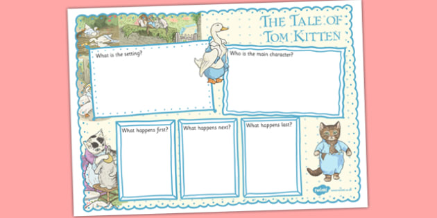 Beatrix Potter - The Tale of Tom Kitten Book Review Writing Frame - beatrix potter, tom kitten