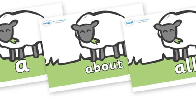 100 High Frequency Words on Sheep to Support Teaching on Pig in the Pond - High frequency words, hfw, DfES Letters and Sounds, Letters and Sounds, display words