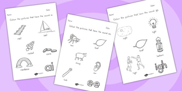 Digraph Colouring Worksheets - digraph, colouring, colours
