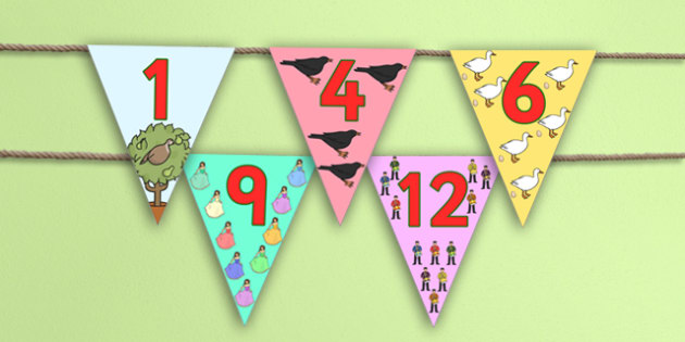 The 12 Days of Christmas Bunting - christmas, bunting