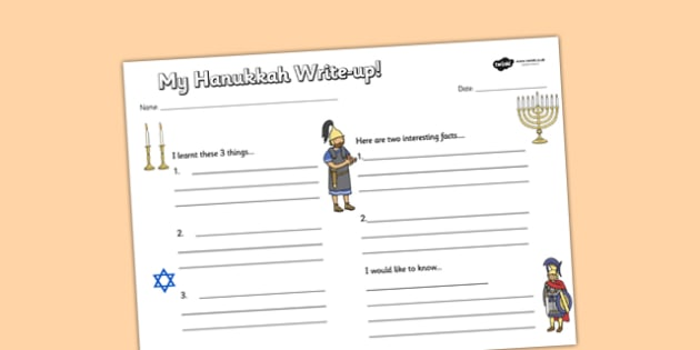 Hanukkah Write Up Worksheet - hanukkah, write up, worksheet, judaism