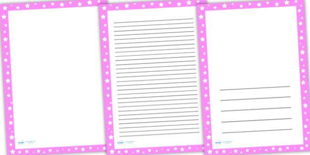 Pink and White Stars Page Borders - writing template, line guide