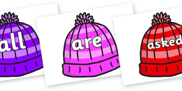 Tricky Words on Woolly Hats - Tricky words, DfES Letters and Sounds, Letters and sounds, display, words