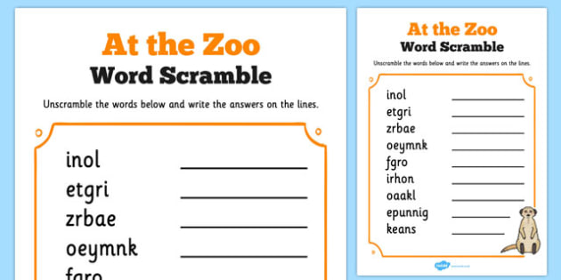 Zoo Trip Word Unscramble - zoo, trip, word unscramble, word