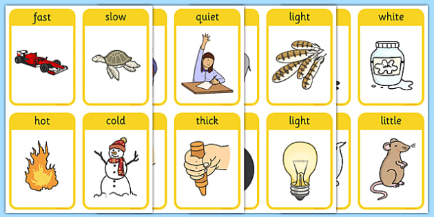 Opposites Matching Cards - Opposite, matching, opposites, light, dark, little, big, measuring, shapes spaces and measures, ordering, large, larger, largest, small, smaller, smallest, sizes