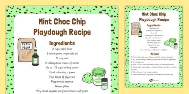 Mint Choc Chip Playdough Recipe - mint choc chip, playdough, recipe, activity