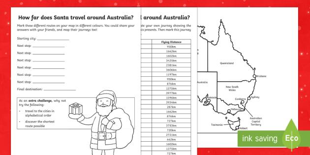 Santa's journey around Australia Activity Sheet