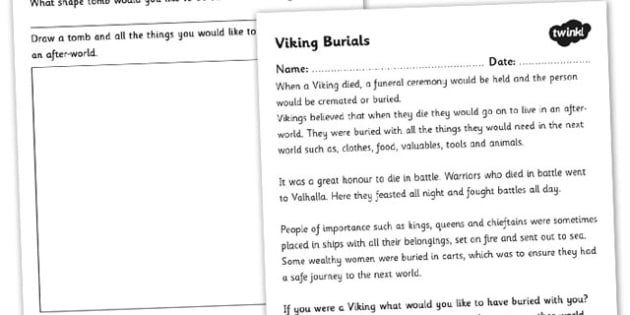 Viking Burial Worksheet - vikings, viking burials, vikings worksheet, viking burial information, ancient vikings, viking history, viking traditions, ks2