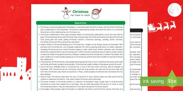 Christmas Fact Sheet for Adults - EYFS, Early Years, KS1, Key Stage 1, Christmas, Christianity, Jesus, Mary, Joseph, Bethlehem, Christmas story, Santa, Father Christmas, reindeer, Christmas tree, presents