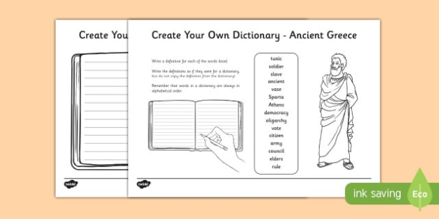 Ancient Greece Key Vocabulary Create Your Own Dictionary