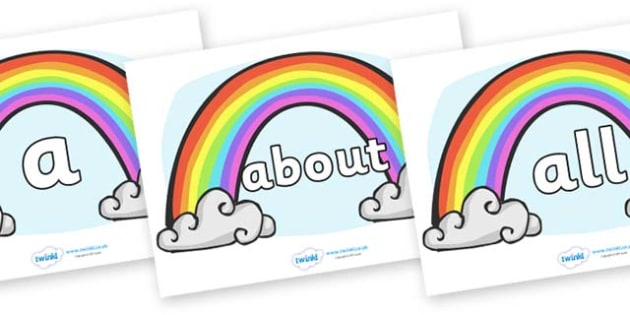 100 High Frequency Words on Rainbows - High frequency words, hfw, DfES Letters and Sounds, Letters and Sounds, display words