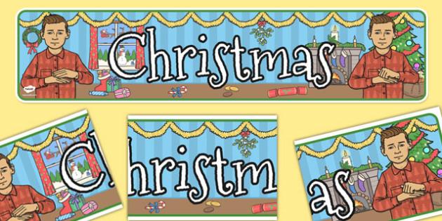 British Sign Language Christmas Display Banner Left Handed - left