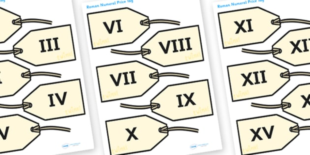 Roman Numberal Price Tags 1-20 - roman numeral price tags, roman numerals, roman numerals on price tags, price tags, ks2 history, role play, display, ks2