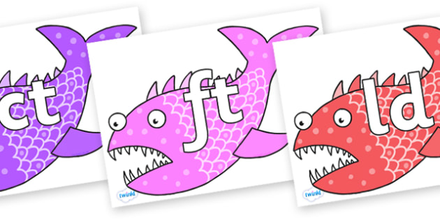 Final Letter Blends on Fish to Support Teaching on Sharing a Shell - Final Letters, final letter, letter blend, letter blends, consonant, consonants, digraph, trigraph, literacy, alphabet, letters, foundation stage literacy