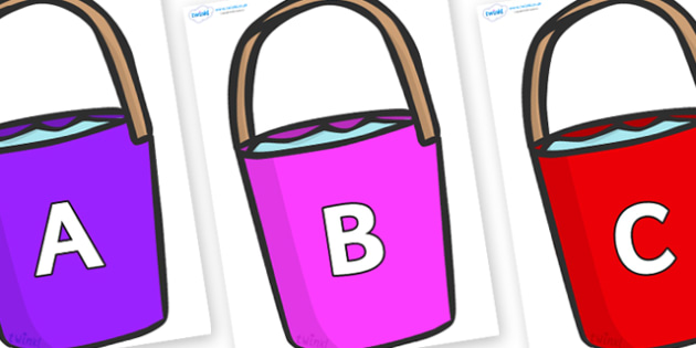 A-Z Alphabet on Buckets - A-Z, A4, display, Alphabet frieze, Display letters, Letter posters, A-Z letters, Alphabet flashcards
