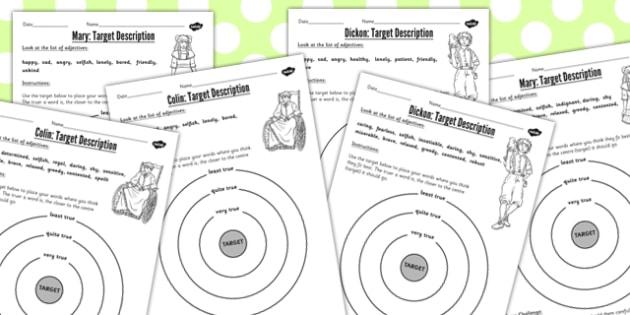 The Secret Garden Target Description Differentiated Worksheets