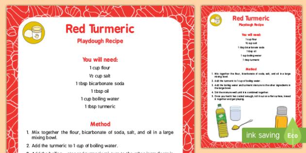 Natural Dye 'Red' Turmeric Playdough Recipe