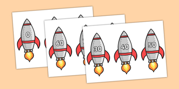 Counting in 10s to 200 on Rockets - counting, 10s, rockets, 200, numbers