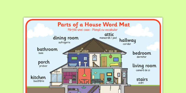 Parts of a House Word Mat Romanian Translation - romanian, parts, house, word mat, word, mat