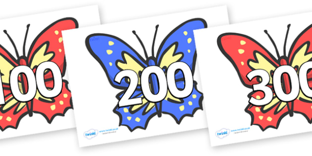 Counting in 100s on Butterflies  - 0-100, foundation stage numeracy, Number recognition, Number flashcards, counting, number frieze,odds and evens, butterflies