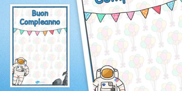 Italian Happy Birthday Posters Space Themed - italian, display