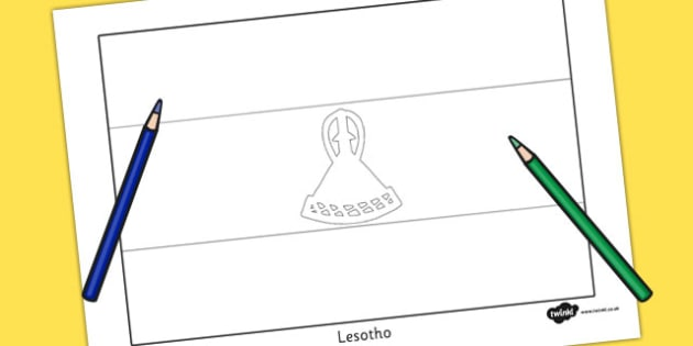 Lesotho Flag Colouring Sheet - countries, geography, colour