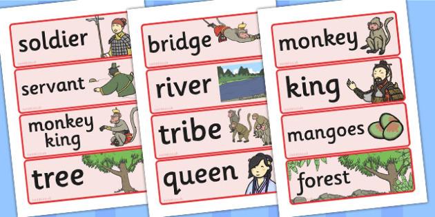 The Monkey King Buddhist Story Word Cards - Monkey, King, Story