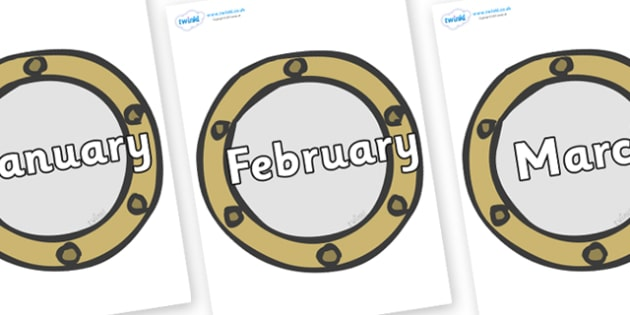 Months of the Year on Portholes - Months of the Year, Months poster, Months display, display, poster, frieze, Months, month, January, February, March, April, May, June, July, August, September