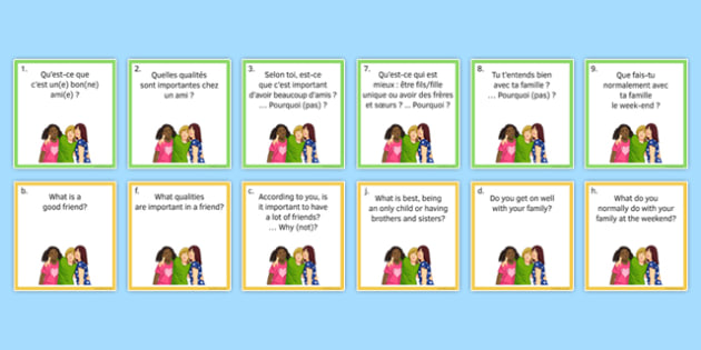 General Conversation Question Pair Cards Me My Family and Friends - french, Conversation, Speaking, Questions, Family, Friends, Relationships, Marriage, Rapports, Mariage, Famille, Amis, Copains, Cards, Cartes
