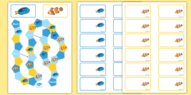 Under the Sea Adventure Themed Editable Board Game - finding nemo, finding dory, under the sea adventure, editable board game