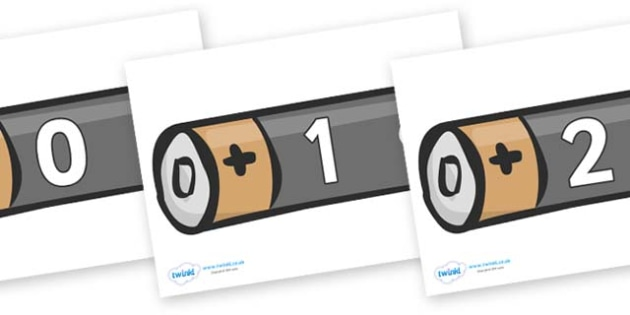 Numbers 0-31 on Batteries - 0-31, foundation stage numeracy, Number recognition, Number flashcards, counting, number frieze, Display numbers, number posters