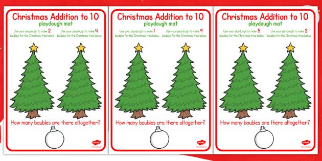 Christmas Addition to 10 Playdough Mats - christmas, playdough