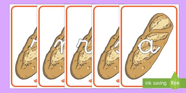 Tarjetas de fonemas: Barras de pan - lecto, leer, primeros sonidos, comida, Spanish