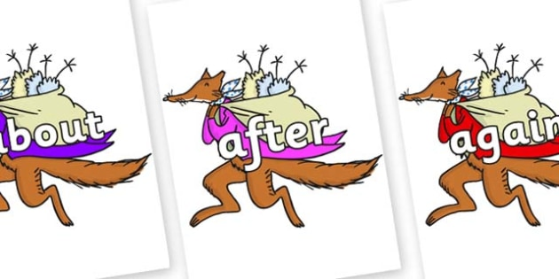 KS1 Keywords on Mr Fox to Support Teaching on Fantastic Mr Fox - KS1, CLL, Communication language and literacy, Display, Key words, high frequency words, foundation stage literacy, DfES Letters and Sounds, Letters and Sounds, spelling