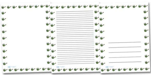 Watering Can Portrait Page Borders- Portrait Page Borders - Page border, border, writing template, writing aid, writing frame, a4 border, template, templates, landscape