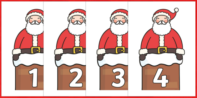 Numbers 0-50 on Santa - Christmas, xmas, santa, advent, nativity, father christmas, Jesus, tree, stocking, present, activity, cracker, angel, snowman, advent , bauble, Foundation Numeracy, Number recognition, Number flashcards, 0-30, A4, display