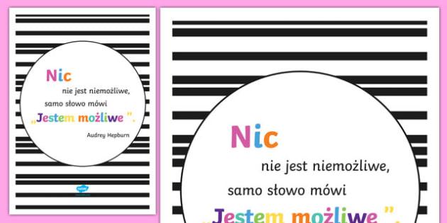 Plakat motywacyjny Nin nie jest niemożliwe po polsku