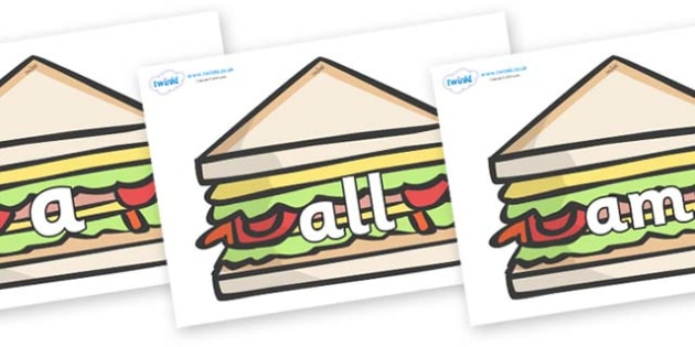 Foundation Stage 2 Keywords on Sandwiches to Support Teaching on The Lighthouse Keeper's Lunch - FS2, CLL, keywords, Communication language and literacy,  Display, Key words, high frequency words, foundation stage literacy, DfES Letters and Sounds, L