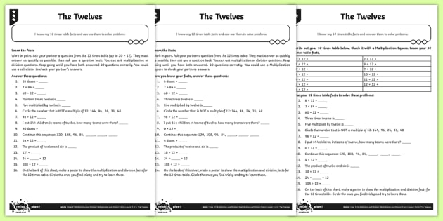 Free Worksheets 12 Times Tables Worksheets Free Math – 12 Times Table Worksheet