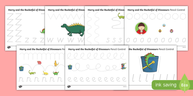 Pencil Control Sheets to Support Teaching on Harry and the Bucketful of Dinosaurs