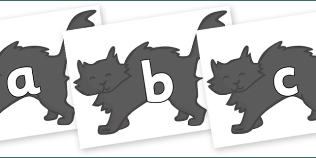Phoneme Set on Black Cats - Phoneme set, phonemes, phoneme, Letters and Sounds, DfES, display, Phase 1, Phase 2, Phase 3, Phase 5, Foundation, Literacy