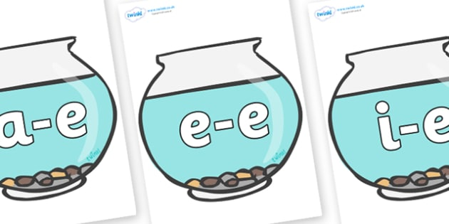 Modifying E Letters on Fish Bowls - Modifying E, letters, modify, Phase 5, Phase five, alternative spellings for phonemes, DfES letters and Sounds