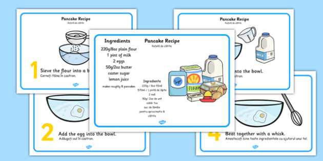 Pancake Recipe Sheets With Measurements Romanian Translation - romanian, pancakes, pancake day