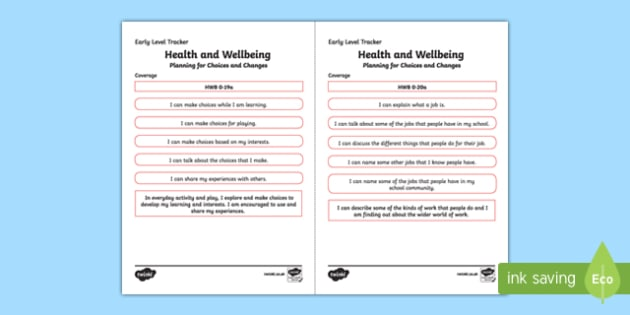 CfE Health and Wellbeing (Planning for Choices and Changes) Early Level Child-Friendly Tracking