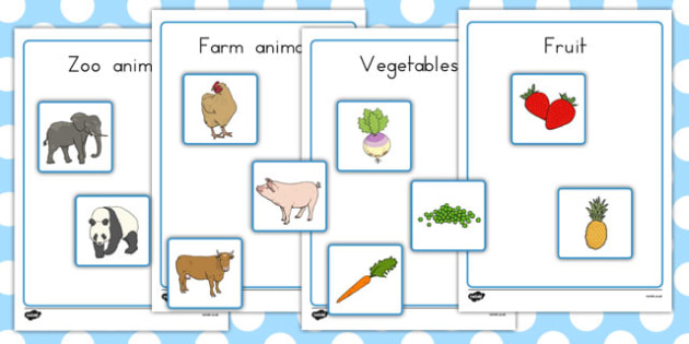 Fruit Vegetables Farm Animals And Zoo Animals Sorting Activity No Visual Support - Australia, sort, organise, food, animals, KS1