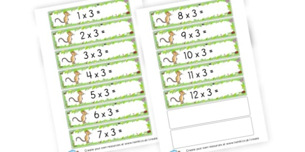 3x Table Number Sentences Gruffalo Theme - Times Tables Primary Resources, multiply, times, number of, games, Times, Table, Tabe